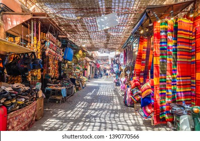 Souvenirs on the Jamaa el Fna market in old Medina, Marrakesh, Morocco