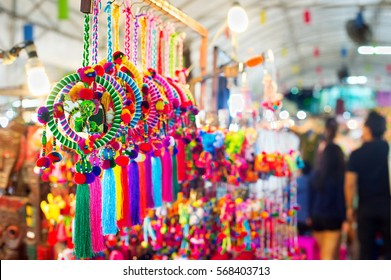 Souvenirs for sell at night market. Chiang Mai, Thailand