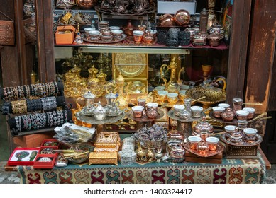 Souvenirs, such as cups to serve Bosnian coffee for sale in Sarajevo, Bosnia