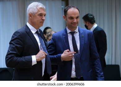 Sovakia's Foreign Minister Ivan Korcok speaks with Slovenia's Foreign Minister Anze Logar  during a meeting of EU foreign ministers, at the European Council in Brussels, Belgium on July 12, 2021.