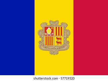 Sovereign state flag of country of Andorra in official colors.