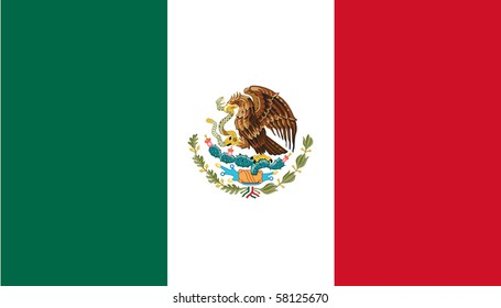 Sovereign state flag of country of Mexico in official colors.