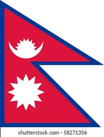 Sovereign state flag of country of Nepal in official colors.