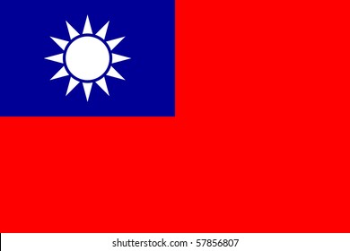 Sovereign state flag of country of Republic of China in official colors.