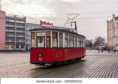 Sovetsk, Kaliningrad Oblast / Russia - 12 21 2019: Monument of a tram on Victory Street in Sovetsk
