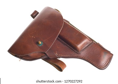 Soviet army Leather Holster, case for revolver isolated on a white background with cliping path.