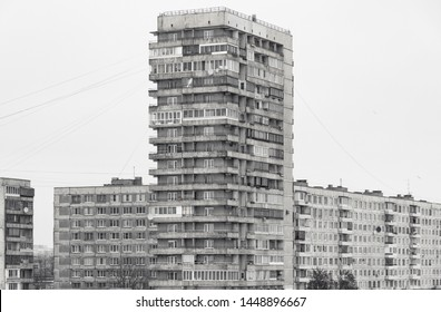 Soviet Brutalist Architecture in St. Petersburg. Panoramic view of soviet era residential blocked houses district
