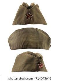 Soviet forage cap. Isolated photo of a soviet military forage cap in front, profile and angle view.