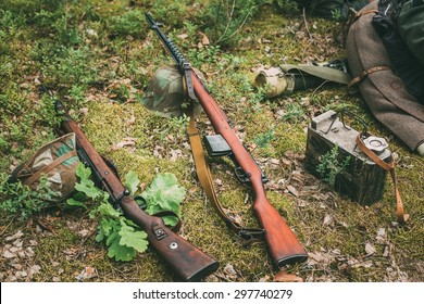 Soviet and German rifles of World War II - SVT 40 - Samozaryadnaya Vintovka Tokareva and German rifle Mauser Karabiner 98k