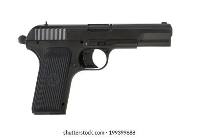 Soviet handgun TT (Tula, Tokarev) isolated on the white background