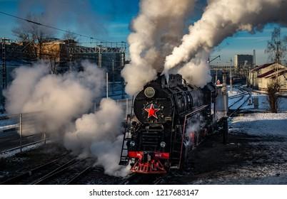 "Soviet LV steam locomotive in the locomotive depot ""Podmoskovnaya"", Moscow, Russia November 29, 2015"