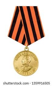 "Soviet medal ""For the victory over Germany in the Great Patriotic War of 1941-1945."" With Comrade Stalin's profile of Herealissimus of the USSR and the words ""Our cause is just, we won."" Isolated"