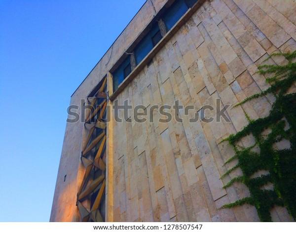 Soviet Modernist Architecture Corner Building Blue Stock Photo ...
