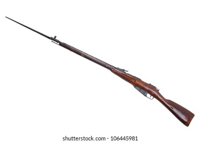 soviet mosin's rifle isolated on white