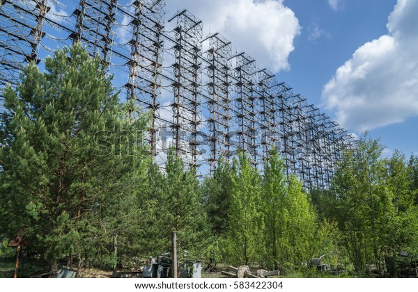 Soviet radar DUGA 3 near Chernobyl ghost town at Ukraine