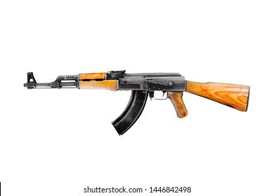 Soviet and russian assault rifle AK47 or AKM isolated on white background