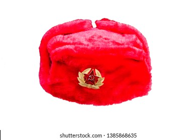 Soviet , Russian officer's winter red fur hat with Golden cockade on white background