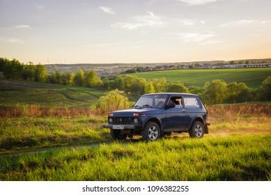 Soviet and Russian SUV Lada Niva (VAZ 2121 / 21214) Moskow, Russia. 05-11-2018