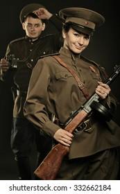 Soviet sentry on patrol with a girl