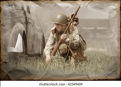 Soviet soldier of WW2 in vintage stile