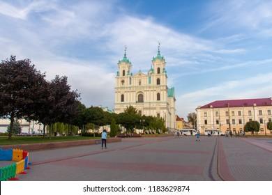 Soviet square in front of the Church of St. františek Xavier