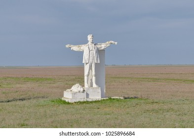 soviet style shepherd with dog monument in Kalmykia
