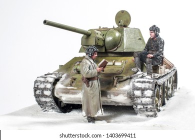 Soviet tank T 34 76, during the Second world war, the crew gets the job. The time period in the winter of 1942.