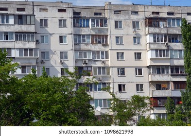 Soviet time residential area. Exterior early morning at spring. Downtown. May 25, 2018 in Kiev,Ukraine