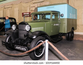 Soviet truck for transportation of bread. St. Petersburg, Russia - 7 May, 2017. Automobiles and vehicles of the war years presented at the Lenrezerv exhibition.