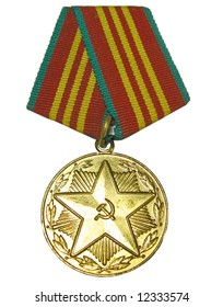 The soviet union times medal for working in the soviet militia, isolated