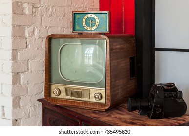 Soviet vintage TV, camera and clock