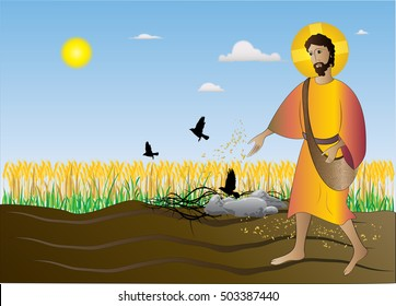 Sower seeding the seeds, the Gospel parable from the Bible about the Sower