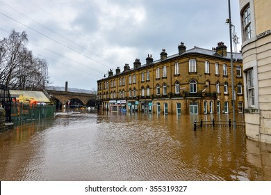 SOWERBY BRIDGE - DECEMBER 26: Heavy and persistant rainfall creates flooding at the river Calder: December 26, 2015 in Sowerby Bridge, UK.