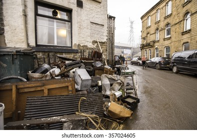 Sowerby Bridge - DECEMBER 28: Aftermath of storm Eva after heavy and persistent rainfall created flooding and structural damage at the river Calder: December 28, 2015 in Sowerby Bridge, UK.