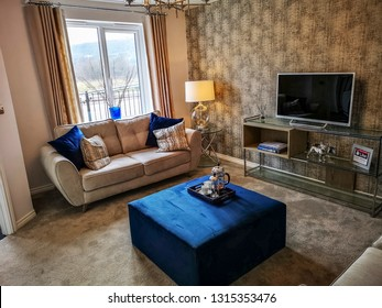 SOWERBY BRIDGE, UK - FEBRUARY 17, 2019: View of the interior of a Wimpey Taylor show house on a new estate of houses, Sowerby Bridge, Calderdale, West Yorkshire, UK