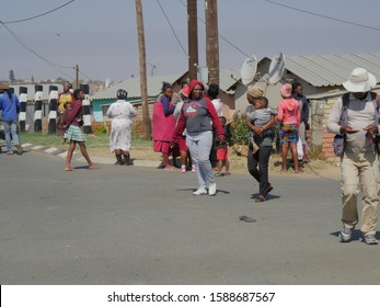 Soweto RSA/August 18 2019 several visions of Soweto, around apartheid Museum, Mandela house and leisure near a restaurant