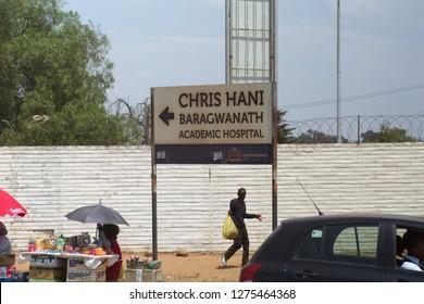 SOWETO, SOUTH AFRICA - CIRCA OCTOBER 2018:  Sign for the Chris Hani Baragawanath Academic Hospital