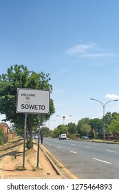 SOWETO, SOUTH AFRICA - CIRCA OCTOBER 2018: Sign at the entrance to Soweto, near Johannesburg