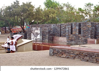 SOWETO, SOUTH AFRICA - CIRCA OCTOBER 2018:  Stone walls of the Hector Pieterson Monument