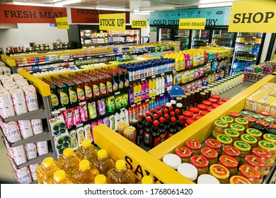 Soweto, South Africa - February 15, 2017: Fully stocked shelves of food and household items at local Pick n Pay grocery store
