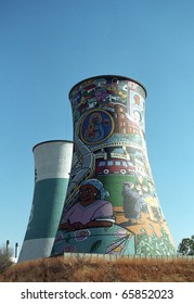 SOWETO, SOUTH AFRICA - JULY 18 : Painted chimney pair at 18, July, 2005 at Soweto, South Africa. The painted chimney is the world famous landmark of Soweto, the slum of Johannesburg.