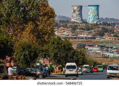 SOWETO, South Africa - May 30, 2015 - SOWETO, a township of Johannesburg, with the Orlando Towers in background, South Africa