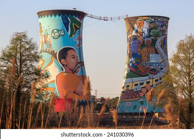 SOWETO, SOUTH AFRICA - SEPTEMBER 01 :Orlando Towers  Painted chimneys at 01, September, 2014 at Soweto, South Africa. Orlando towers are a famous landmark of Soweto, the township of Johannesburg.