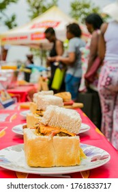 Soweto, South Africa - September 17, 2017: Close up of Traditional African bread based street food called Bunny Chow at outdoor festival