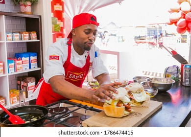 Soweto, South Africa - September 17, 2017: Professional Chefs cooking and preparing street food called Bunny Chow at food festival