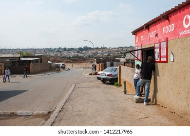 SOWETO- SOUTH AFRICA-SEPTEMBER 29, 2017: South Western Townships, founded in 1923 for black drinkers in Johannesburg, are still alive today. Poor people live in the Townships.