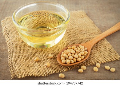 Soy beans and oil on hessian mat.