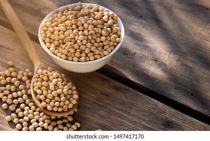 soy beans on wooden table background with lighting in the morning