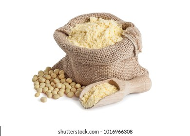 Soy flour in a small jute bag isolated on white background