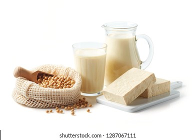 Soy products: soy beans, soy milk, tofu and soya chunks isolated on white background